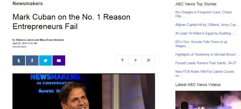 Mark Cuban on the No. 1 Reason Entrepreneurs Fail