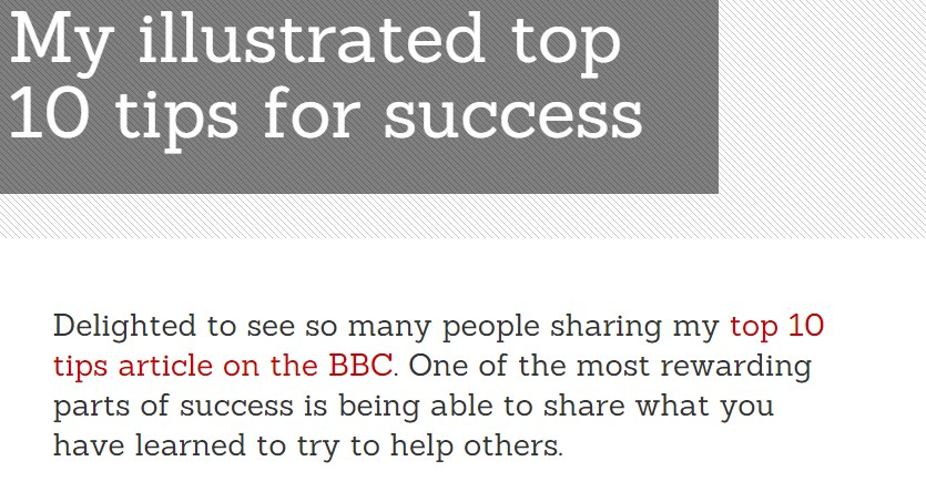 My illustrated top 10 tips for success