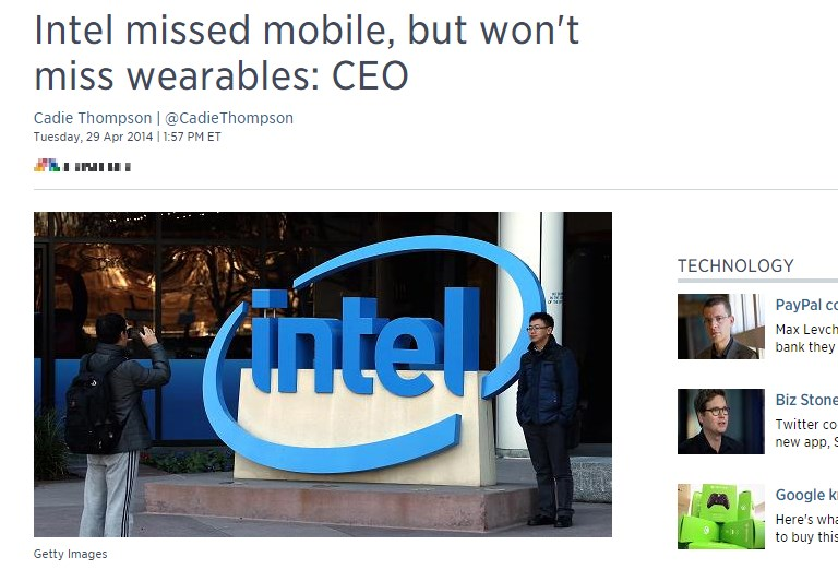 Intel missed mobile, but won't miss wearables: CEO