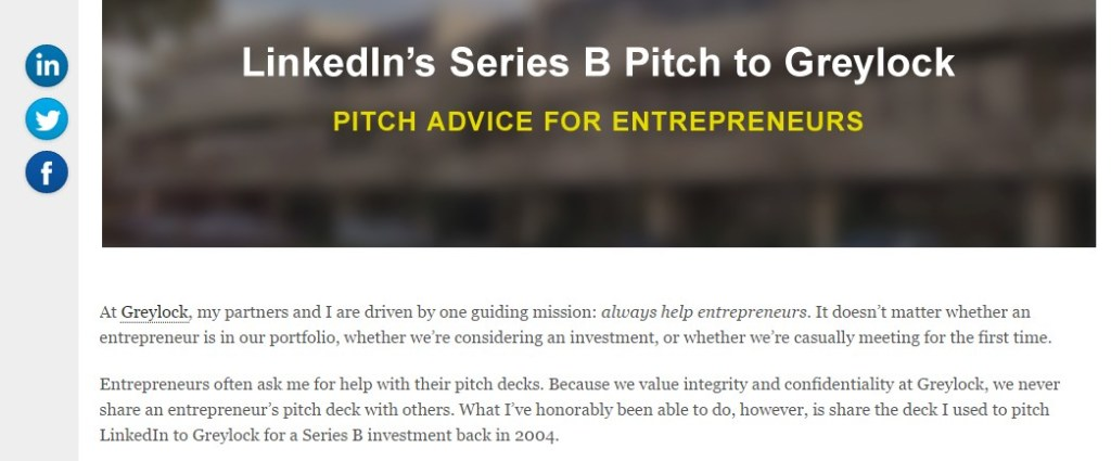 LinkedIn's Series B Pitch to Greylock: Pitch Advice for Entrepreneurs