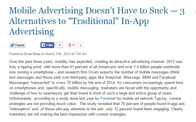 """Mobile Advertising Doesn't Have to Suck — 3 Alternatives to """"Traditional"""" In-App Advertising"""