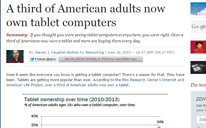 A third of American adults now own tablet computers