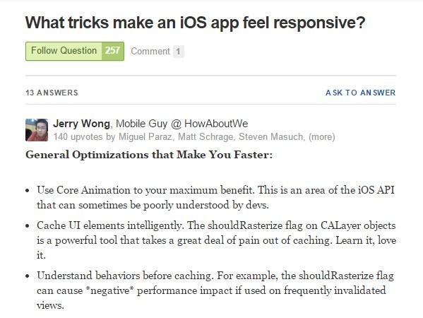 What tricks make an iOS app feel responsive?
