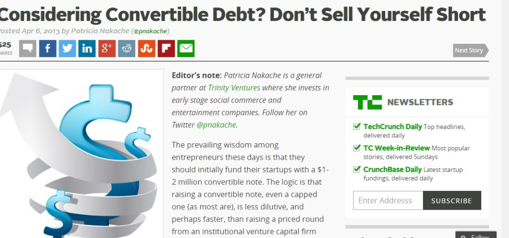 Considering Convertible Debt? Don't Sell Yourself Short