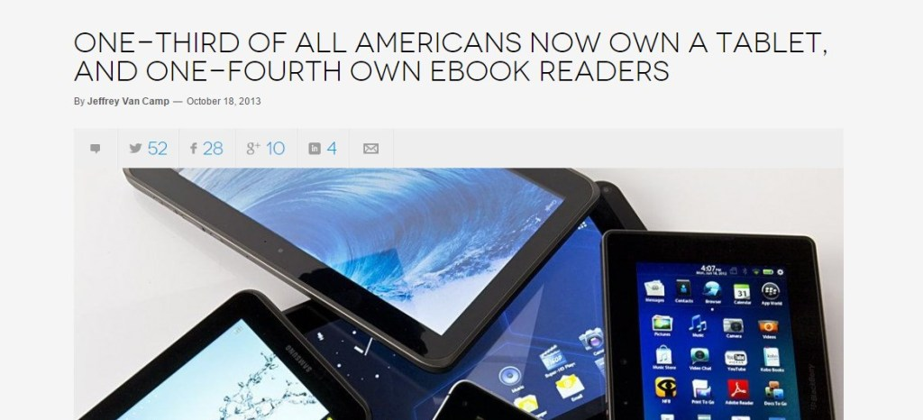 One-third of all Americans now own a tablet, and one-fourth own ebook readers  Read more: http://www.digitaltrends.com/mobile/tablet-ownership-one-third-of-americans/#ixzz3K4QWPhkA  Follow us: @digitaltrends on Twitter | digitaltrendsftw on Facebook