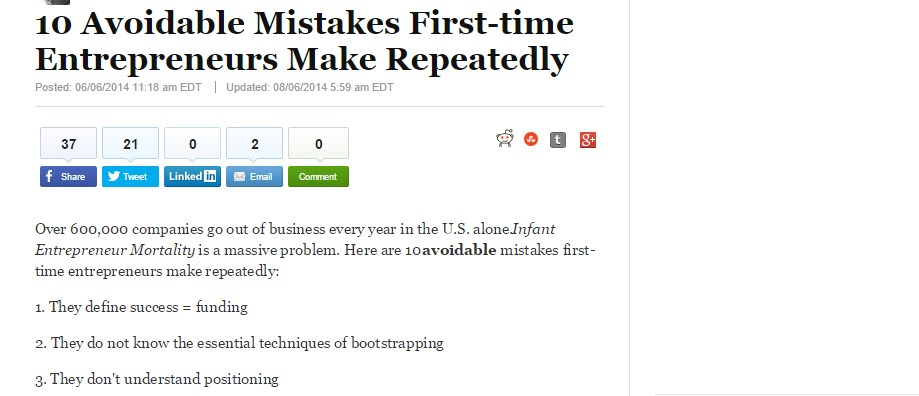 10 Avoidable Mistakes First-time Entrepreneurs Make Repeatedly