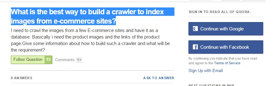 What is the best way to build a crawler to index images from e-commerce sites?