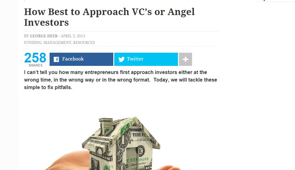 How Best to Approach VC's or Angel Investors