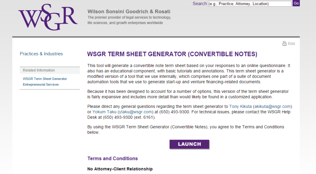 Term sheet convertible note