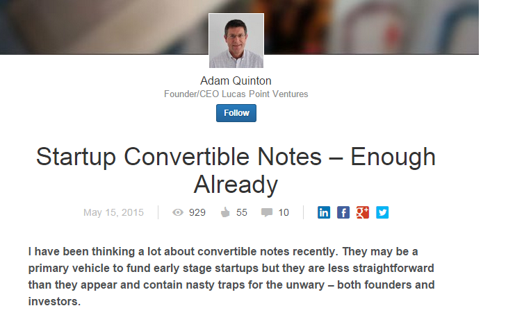 startup convertible notes