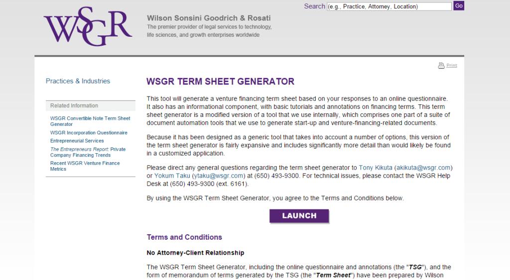 wsgr term sheet generator