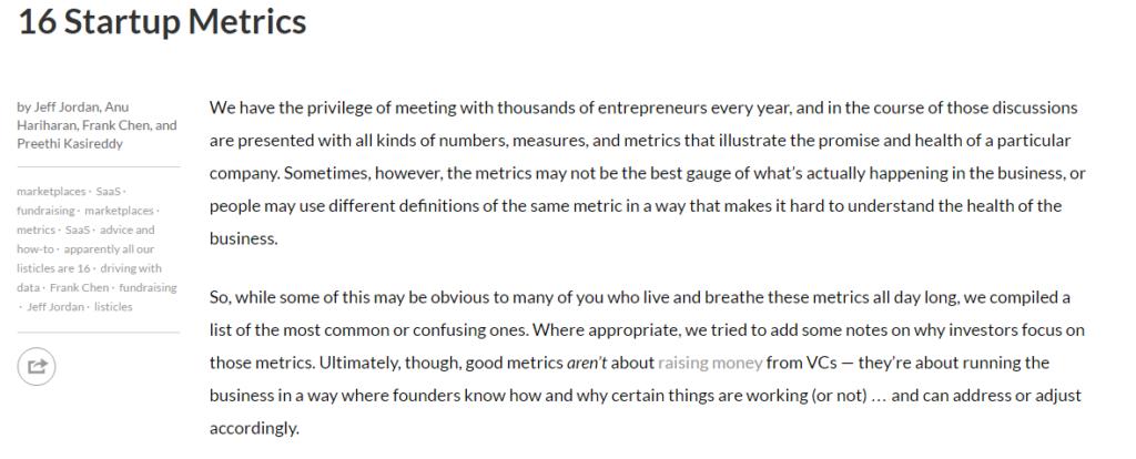 16 startup metrics