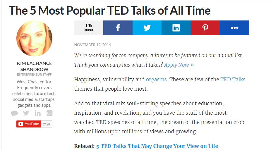5 Most Populat Ted Talks