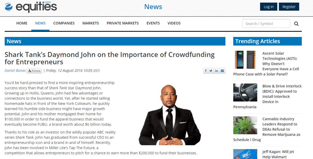 Crowdfunding Daymond John