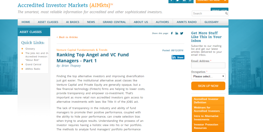 Ranking Top Angel and VC Fund Managers  -Part 1