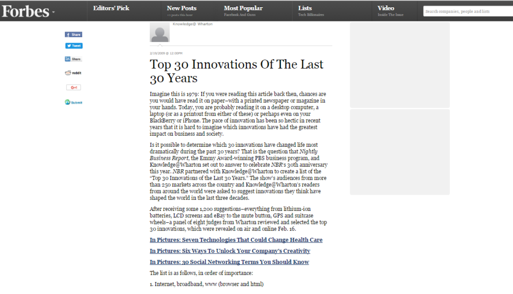 Top30 Innovations of the Last 30 years