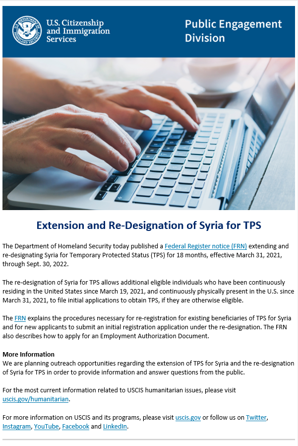 Re-Designation of Syria for TPS