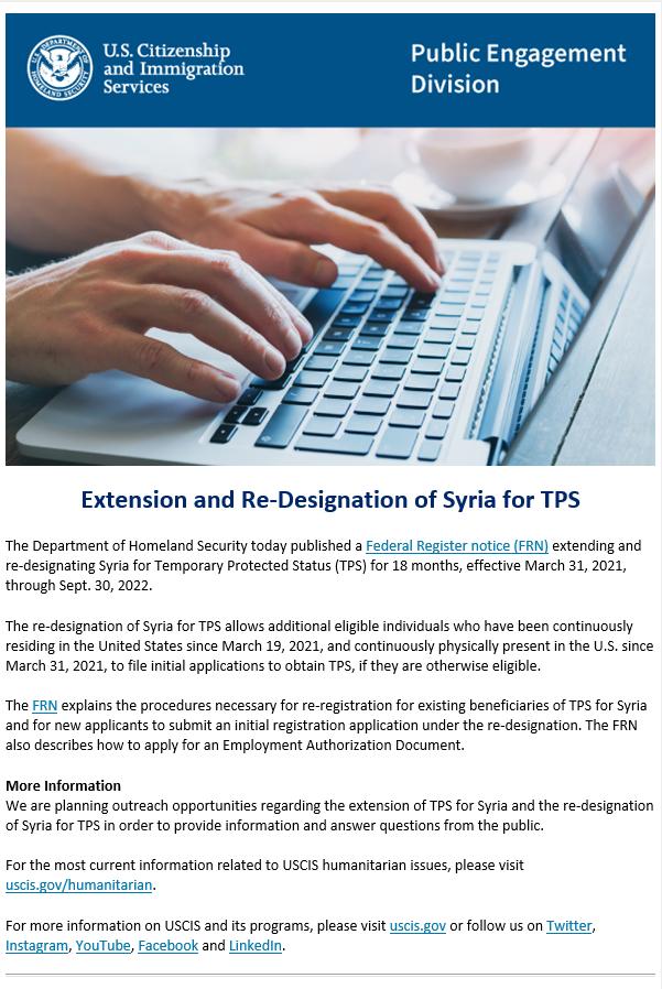 Re-Designation of Syria for TPS