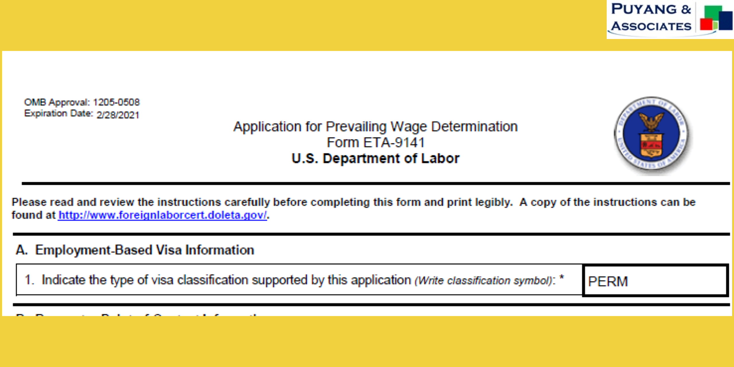 New Prevailing Wage Request Form and Other Updates from DOL