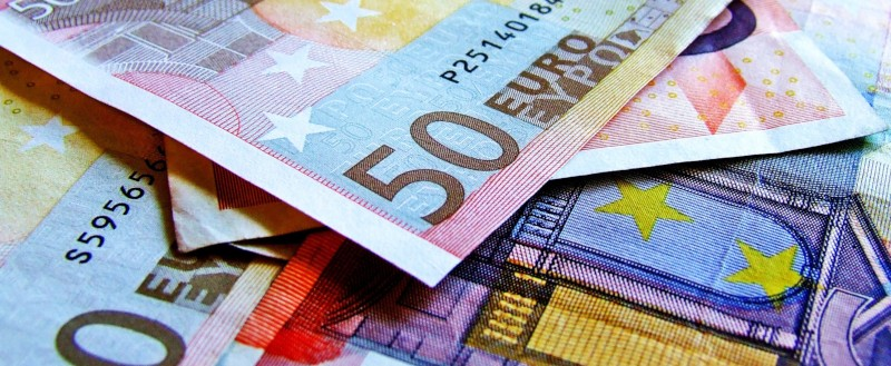 closeup of pile of euro banknotes