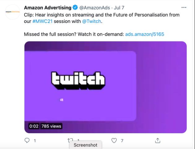Screen shot of Amazon Ads tweet showing ads.amazon usage
