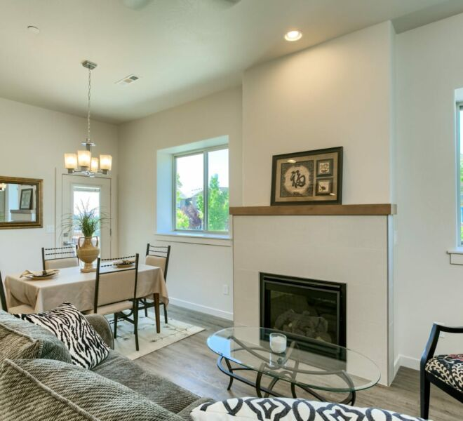 fireplace of a home in Meadowbrook Park Condos in Ashland Oregon