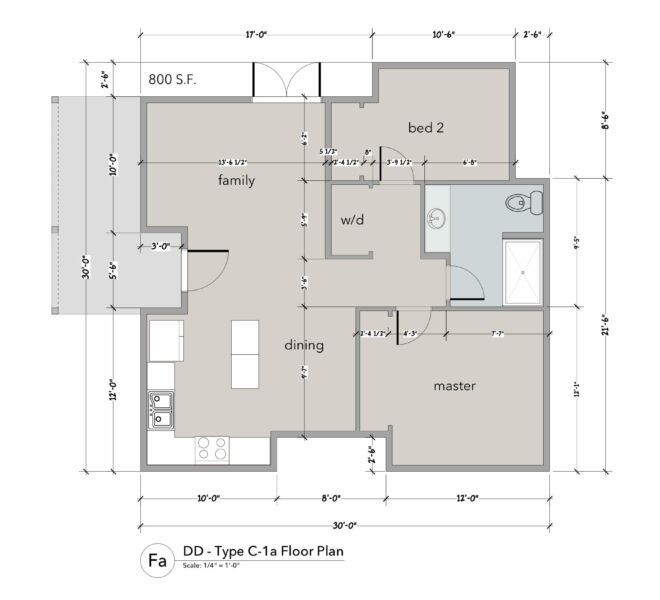 Floor plan of a cottage at The Garden Cottages in Ashland, Oregon