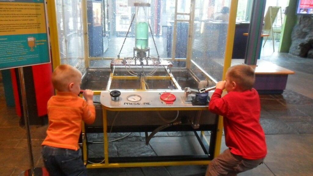 Kids learning about water rockets at ScienceWorks hands on museum