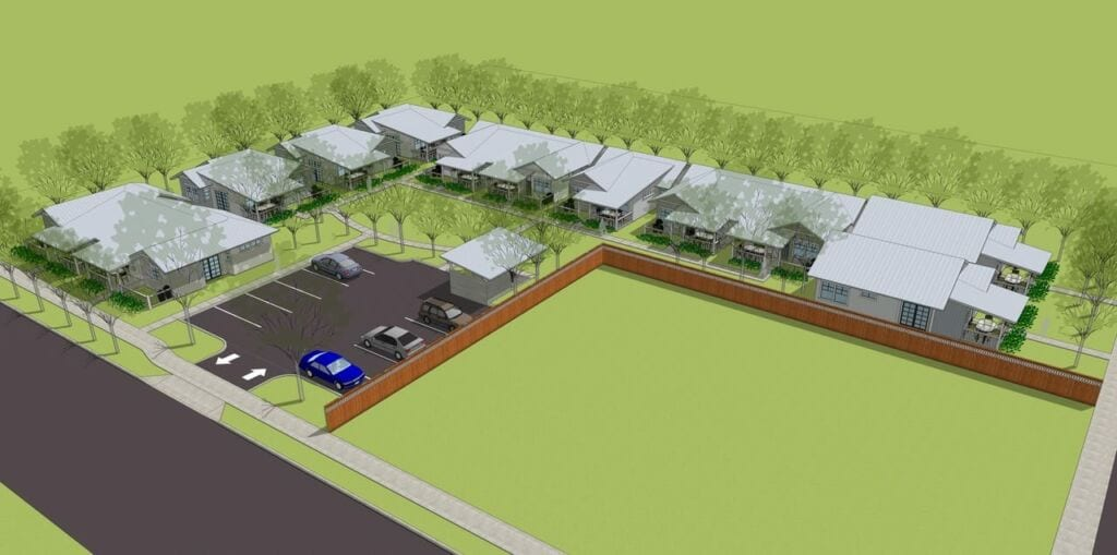 Aerial Rendering of The Garden Cottages Community In Ashland, Oregon
