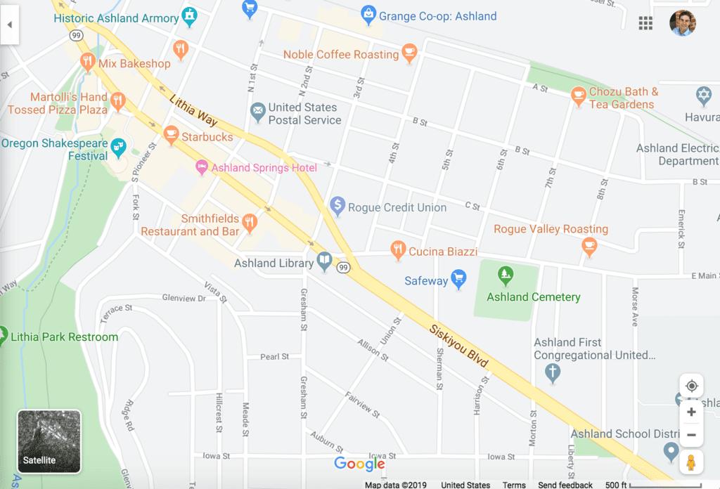 Google Map of Downtown Ashland Oregon