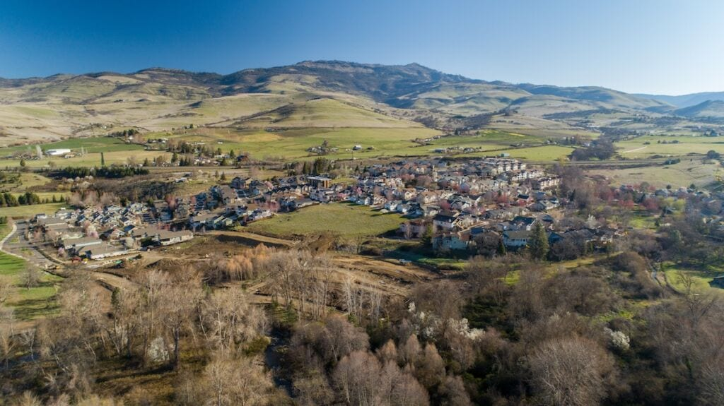 Aerial photo of New homes in Ashland Oregon