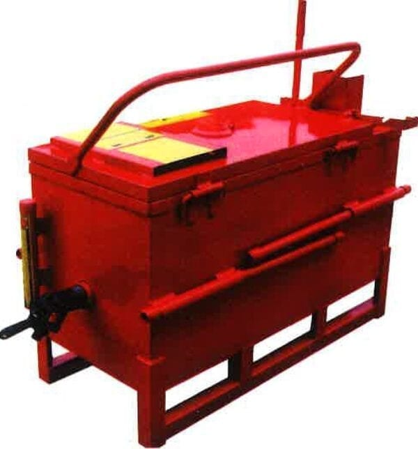 A back view of the 30 Gallon Direct Fire Melter