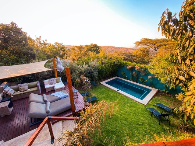 View of the pool at Pablo House Melville