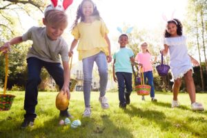 kids looking for easter eggs