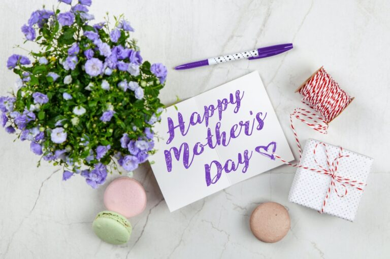 mothers day card and flowers