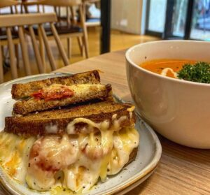 toasted cheese sandwich and soup