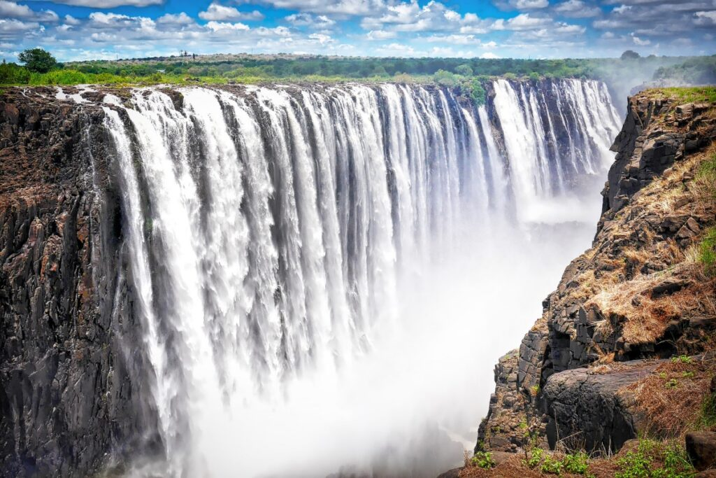 victoria falls with huge water view