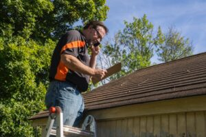 Wind damage roof inspection at a house in Dallas, Texas