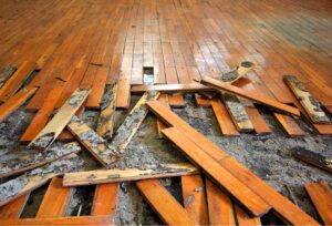 Musty and moldy wood floors after a flood in Lewisville, Texas