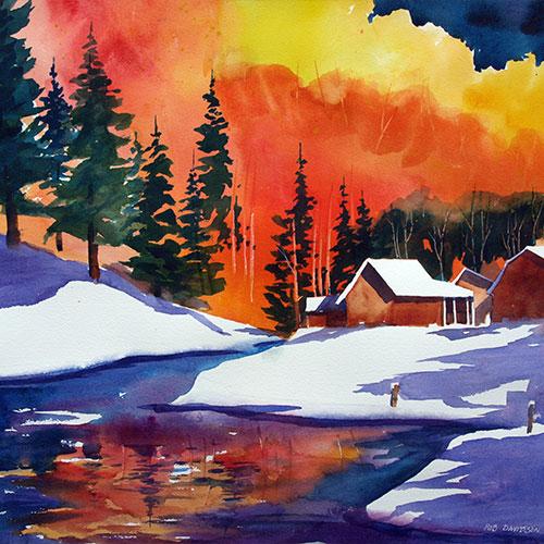 16_rad-winter-cabins-on-stream-24x18-painting_8342