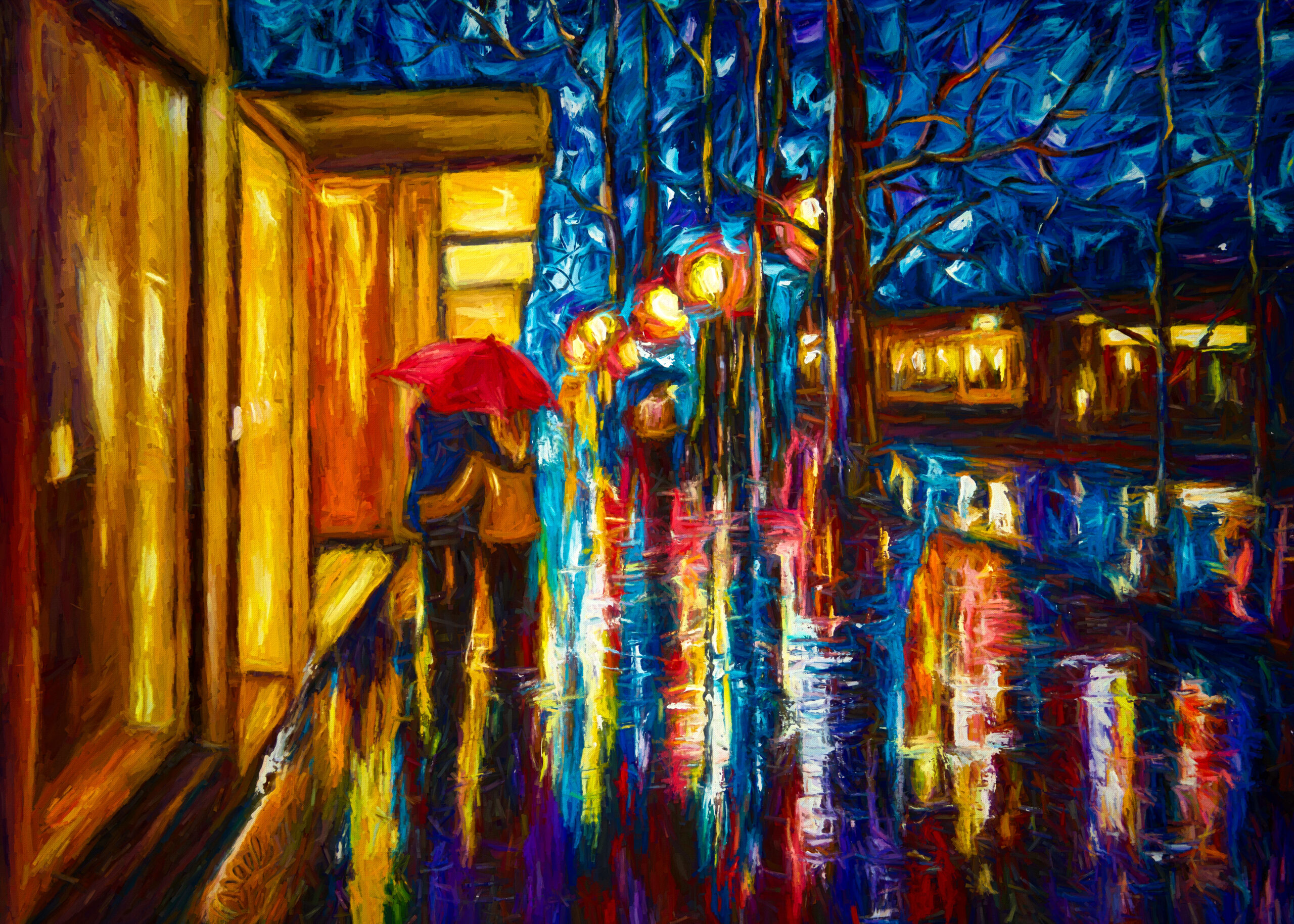 Love In The Rain  May every sunrise hold more promise and every sunset hold more peace .. ~ Umair Siddiqui   Love in the Rain. Textured palette knife painting touched with digital oil brushes for night glow effect for prints. A beautiful, romantic piece bathed in colorful glowing light and textures radiating intense energy and much love. Lively and spontaneous brush strokes were used in order to capture the momentary effects of street lights and reflection encased by the endless atmosphere. Give your home a beam of vibrance or express your sentiment to someone else through this print. Or original oil painting is available on ARTFINDER or my FB page: Side notes for original artwork: Textured Palette Knife Painting made with knife from oil paints, canvas and love. The sides of the canvas are painted in black, no frame require unless desired. The images in context are not to scale and are for display purposes only. Delivery Guarantee? My works, originals, one of a kind, are very carefully packaged, a tracking code is provided and they are all insured. You can refer to the reviews for satisfied customers.  Please feel free to message me if you have any questions regarding my works. THANK YOU for visiting my gallery and I really hope my artworks have served it s purpose and brighten your day! Shout out to Artfinder and to all my wonderful collectors! (https://www.artfinder.com/artists/top-100-artis...) Thrilled and honored to be one of the best sellers from USA, Lena Owens  Materials used: professional artist oil paints, brushes, palette knife, gallery wrapped traditional canvas Tags: walking in rain; evening; lovers on a walk; sharing love; fall colors; landscape; autumn; color reflections; lovers; under colorful umbrella; rainy park; alley; palette knife; stroll in a park; original palette knife; umbrellas; cityscape; nightscape; love; lovers; meeting; date; street; square; rendezvous; boutique; rain; rainy; buy paintings; buy painting; original painting; oil painting;