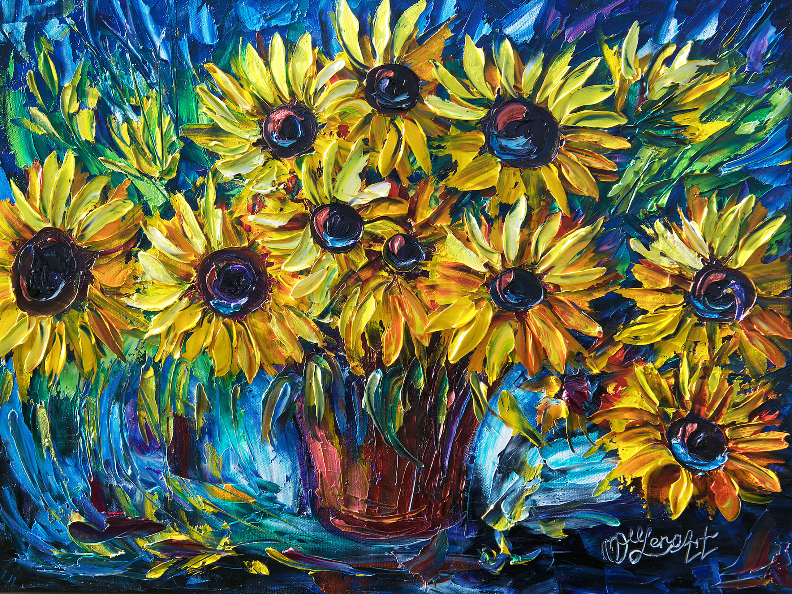 """SUNFLOWERS — Palette knife by Lena Owens @OLena Art """"The sunflower is mine, in a way.""""  ― Vincent van Gogh Another one and as you know – sunflowers – one of my favorite subject. I painting few similar Countryside Sunflowers, and each turned unique and different.  by Lena Owens, Copyright OLena Art.  """"Art evokes the mystery without which the world would not exist"""". – Rene Magritte PRINT DETAILS  - Giclee prints are high-resolution digital prints that meticulously capture the rich color and subtle texture of original art.  - Only archival inks and acid-free materials are used to ensure your print lasts a lifetime without fading.  - Made to order by pixels, redbubble, society6 or olenaart.me RISK-FREE RETURNS  - If you don't love it, return it in 30 days for a full refund. PRINT OPTIONS  - Available in multiple sizes and materials to perfectly suit your space.  - Optional custom framing services save you time and hassle.  - Framed & mounted prints arrive """"ready-to-hang"""" with pre-attached hanging wire, hooks and nails. ORDERS & SHIPPING  - Ready to ship in 3-4 business days.  - Shipped worldwide.  One of the things that makes me inspired is an example of many artists I follow and trying to learn, who are using traditional palette knife technique: Leonid Afremov, Lyudmila Agrich, Maya Eventov, Mona Edulesco, Jessilyn Park! All of them are great example, how to use bright, bold application of thick paint layers! Way to go! sunflower, pink, red, nature, floral, spring, country, flowers, summer, garden, fragile, bright, original, artwork, palette, knife, oil, painting, painting, on, canvas, yellow, color, bright, colors, thick, impasto, thick, paint, layers, lena, owens, art, olena, art, painting, knife painting, oil painging, palette knife, original artowrk, thick paint layers, lena owens, olena art, sunflowers, original painting, floral, colourful, home decor, colorado artist, contemporary, modern art, fine art, sunflower pink red nature floral spr"""