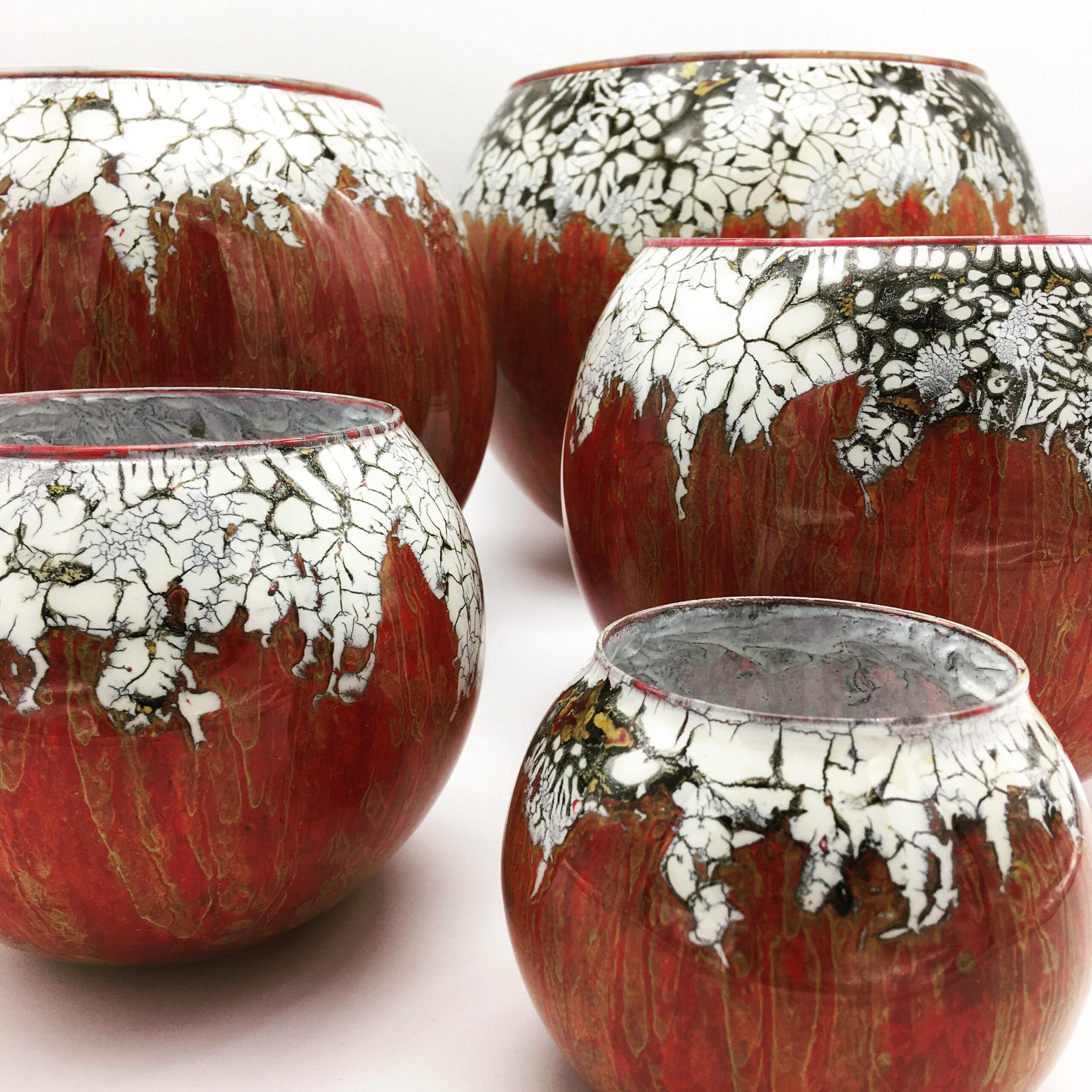 cjs-setoffive-redand whitebowls-handpaintedglass