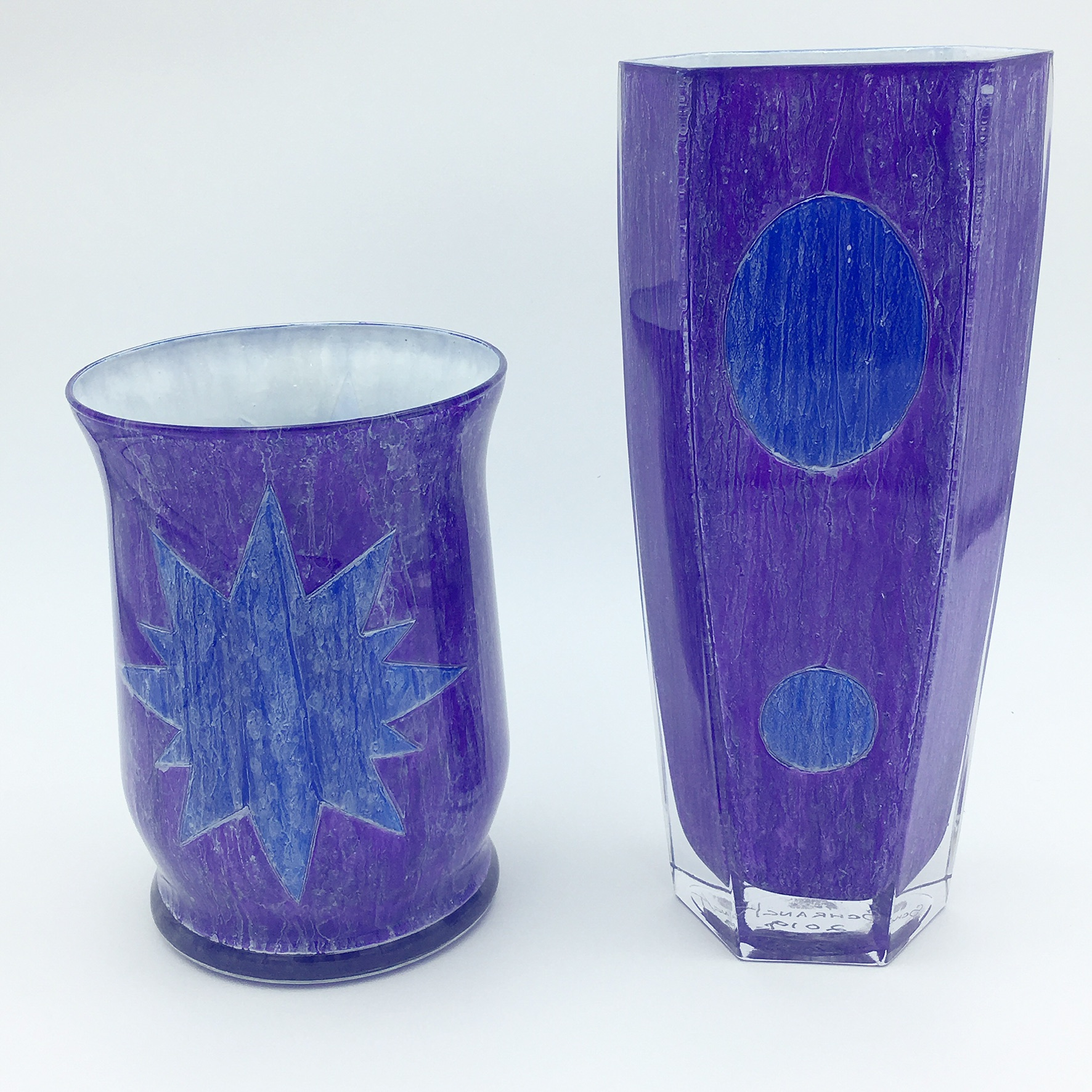 cjs-violet-blue-vases-handpaintedglass