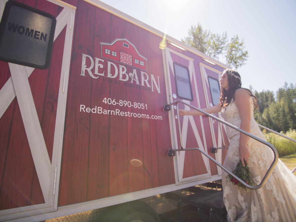 Bride Entering Redbarn Trailer