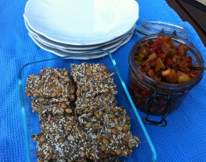 Caponata with Endurance crackers fresh from the cooler.