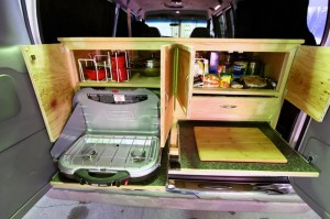 Our vans come equipped with kitchen supplies