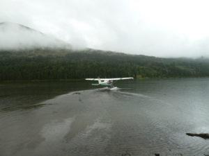 Flying into Juneau Lake Alaska on a Float Plane