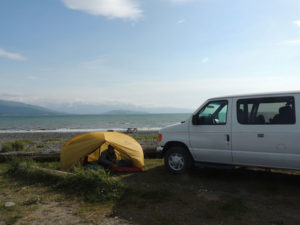 Camping by the Camper Van on the Turnagain Arm in Alaska