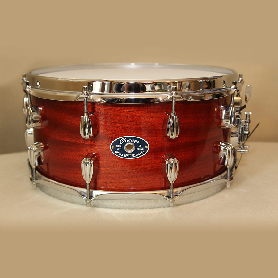 6.5 Inch Mahogany Snare Drum with Red Stain